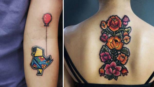 Haftowane tatuaże – technika tatuowania, która prezentuje się niczym obraz wyszyty nićmi na ciele