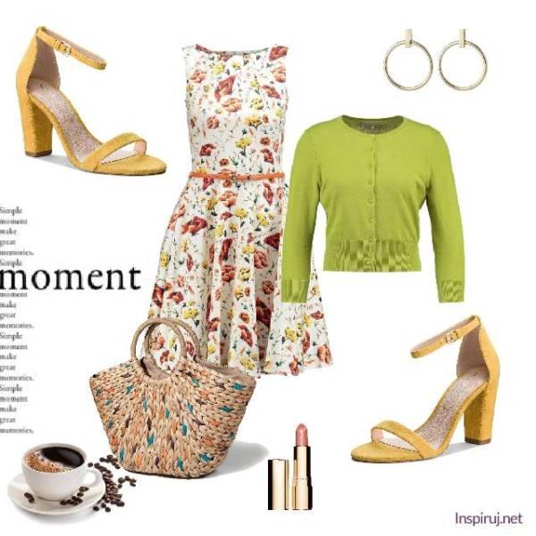stylizacja z sukienką w drobne kwiaty łączka