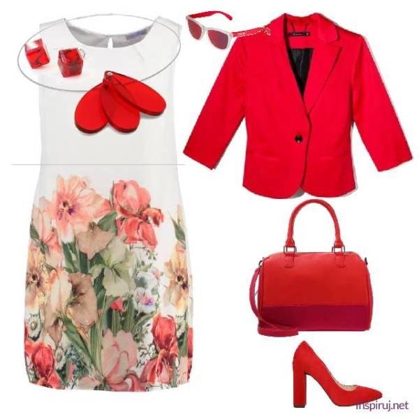 stylizacja z sukienką w kwiaty i czerwoną górą