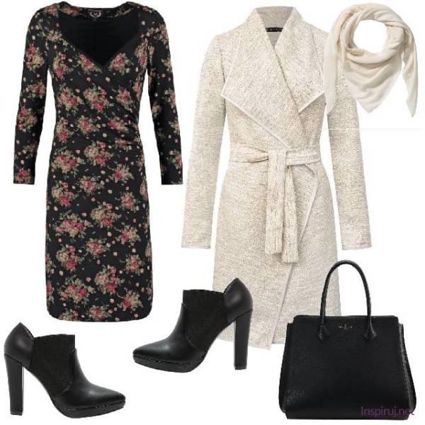 stylizacja z sukienką w kwiaty do pracy
