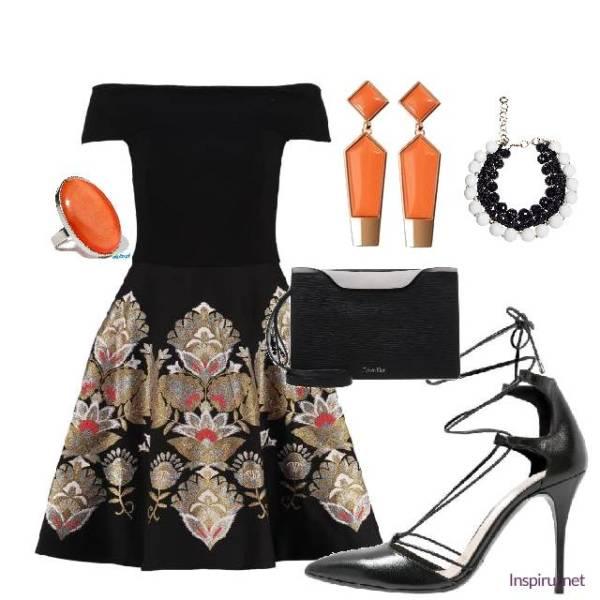 stylizacja z czarną sukienką w kwiaty elegancka na wesele