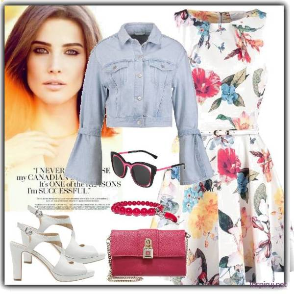 stylizacja z sukienką w kwiaty i jeansową kurtką