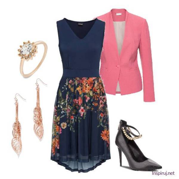 stylizacja z sukienką w kwiaty elegancka na wesele