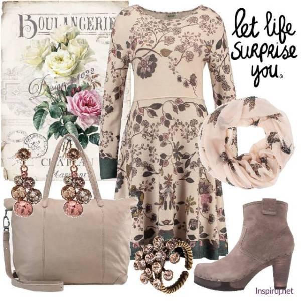stylizacja z sukienką w kwiaty w stylu romantycznym
