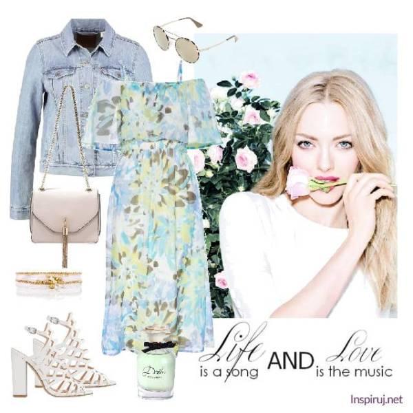 stylizacja z sukienką w kwiaty w stylu romantycznym z kurtką jeansową
