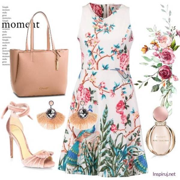 stylizacja z sukienką w kwiaty w stylu egzotycznym