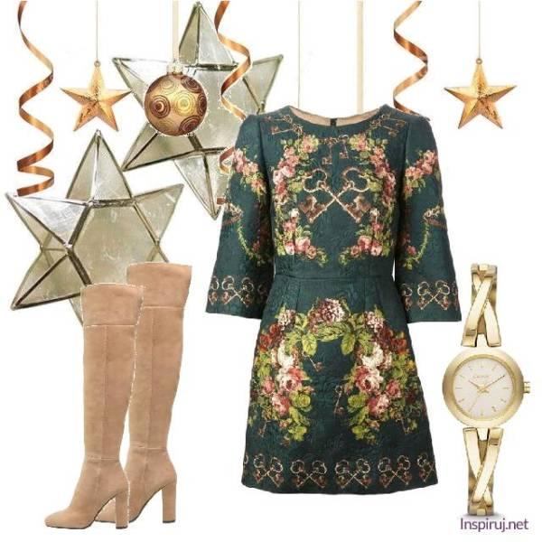 stylizacja z sukienką w kwiaty elegancka na wieczór