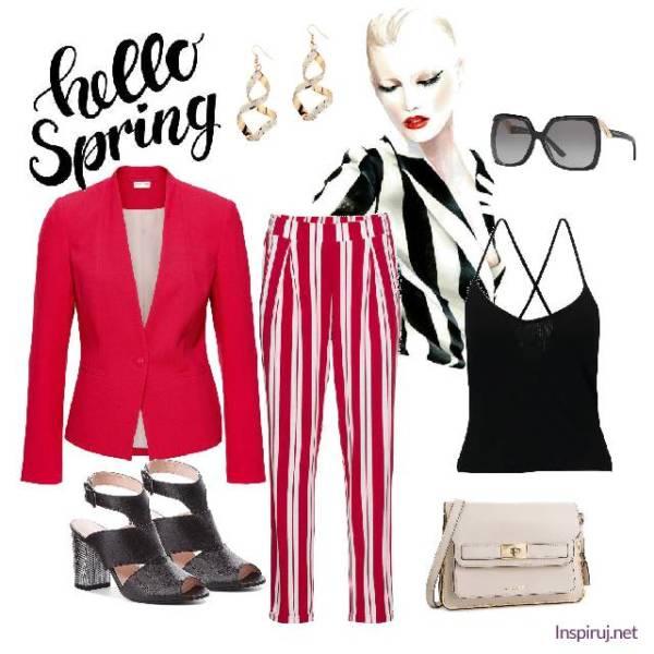 stylizacja_czerwona marynarka, spodnie w paski, czarny top, sandały na słupku