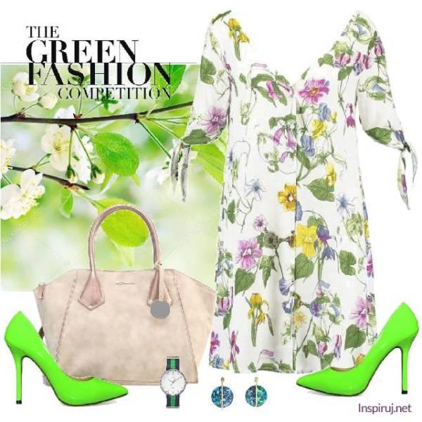 stylizacja z sukienką w kwiaty i zielone szpilki