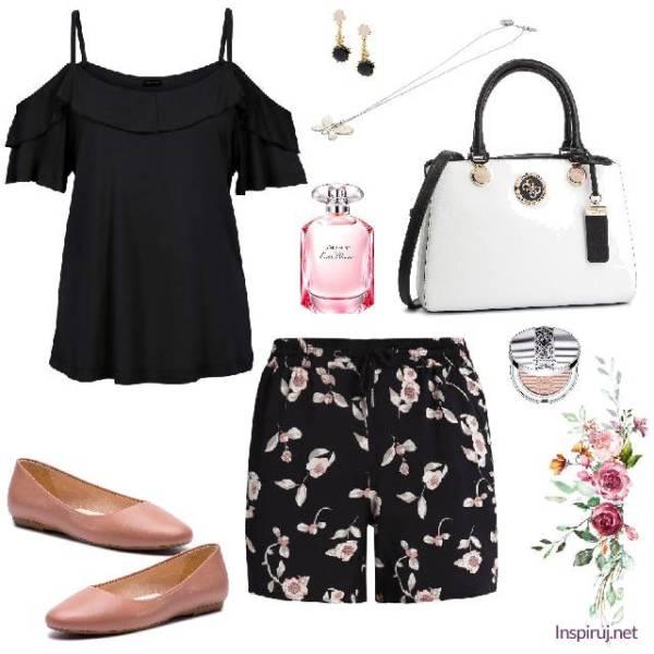 stylizacja ze spodenkami w kwiaty, różowymi balerinami i czarną bluzką hiszpanką