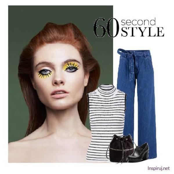 stylizacja z jeansowymi dzwonami i t-shirtem w paski bez rękawów