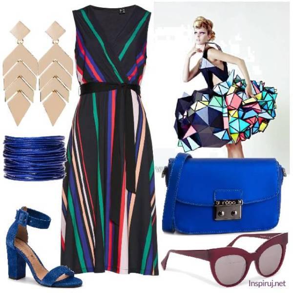 Stylizacja z sukienką w paski i niebieskimi dodatkami