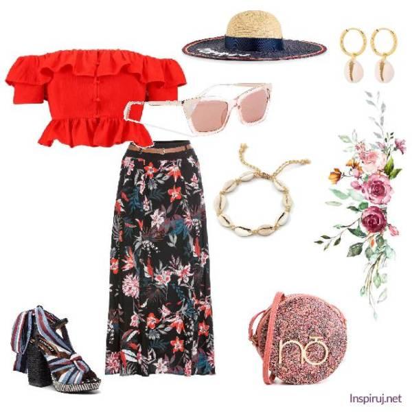 stylizacja ze spódnicą maxi w kwiaty, czerwoną hiszpanką i słomianym kapeluszem