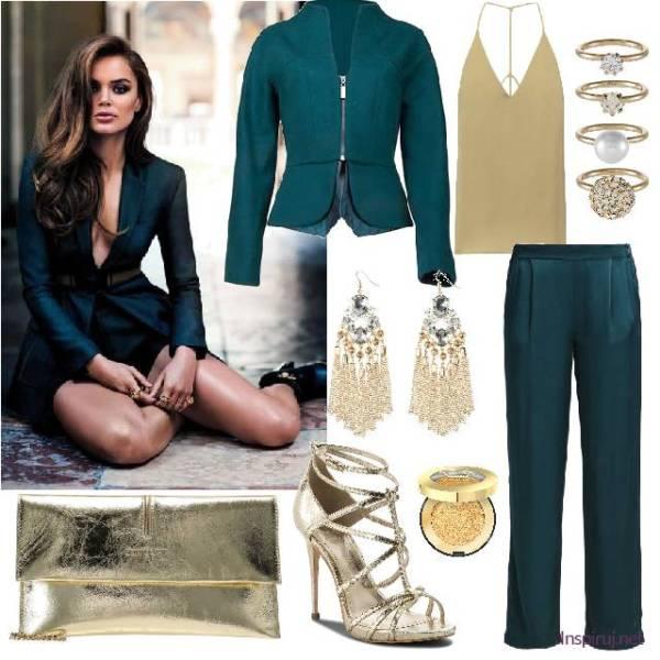 stylizacja z damskimi spodniami od garnituru, topem khaki i złotymi dodatkami