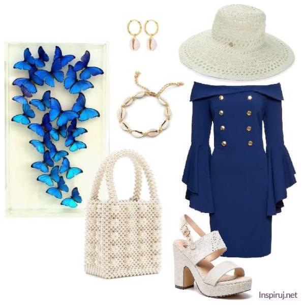 Stylizacja z marynarską sukienką, torebką z perełek, biżuterią z muszelek i koronkowym kapeluszem