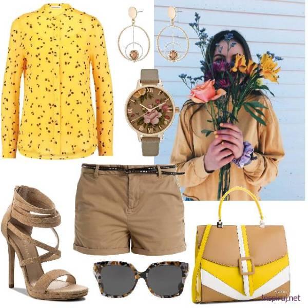 Stylizacja z żółtą koszulą i brązowymi dodatkami