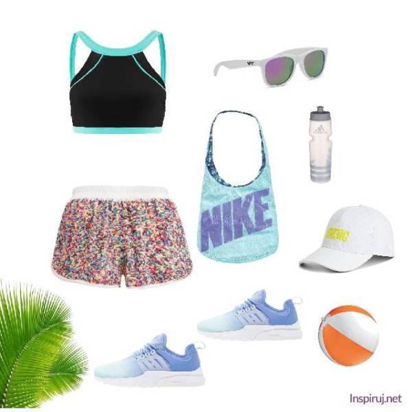 sportowa stylizacja z kolorowymi szortami i bejsbolówką