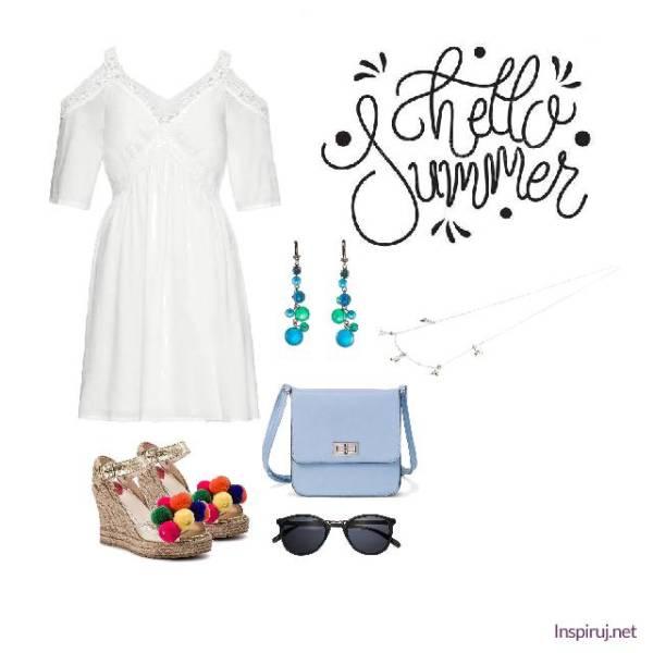Stylizacja z białą sukienką i espadrylami z pomponami