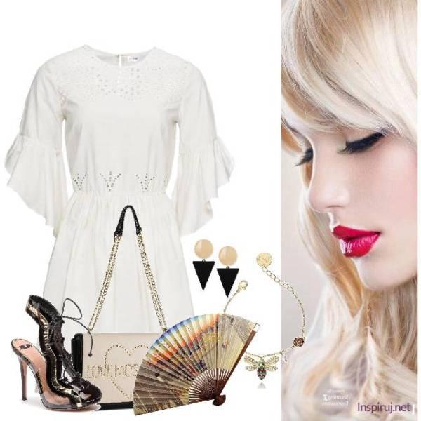 biała sukienka, wachlarz