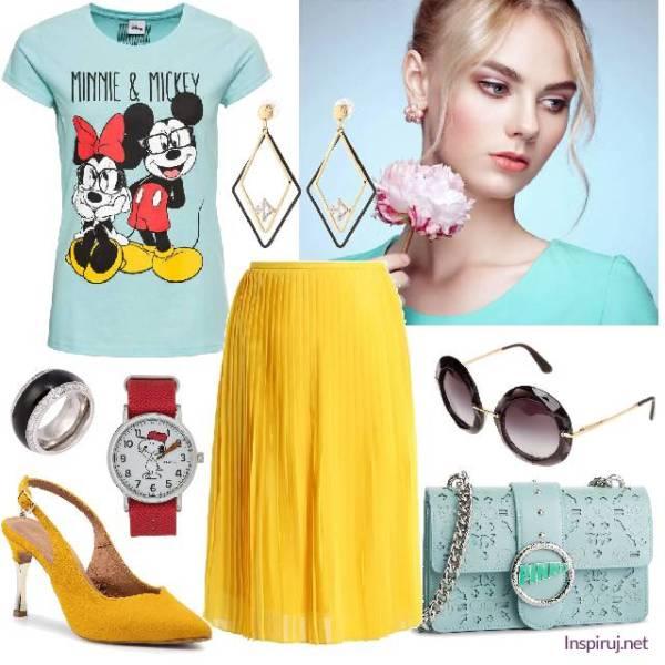 Stylizacja z t-shirtem z Myszką Mikim, plisowaną żółtą spódnicą i żółtymi szpilkami