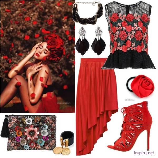 stylizacja z bluzką i torebką w kwiaty i czerwoną skośną spódnicą