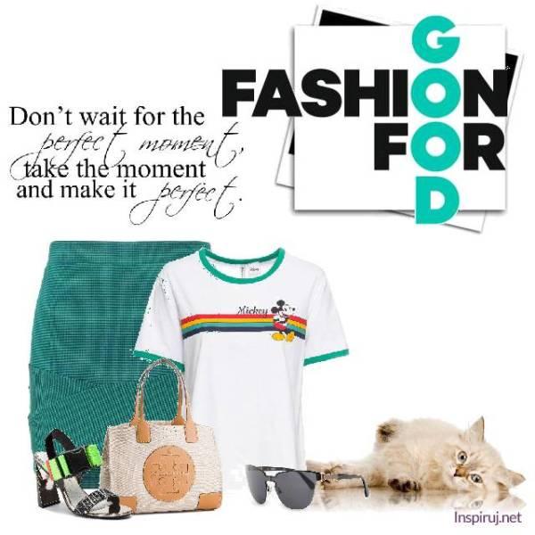 stylizacja z t-shirtem z Myszką Miki i turkusową mini spódnicą