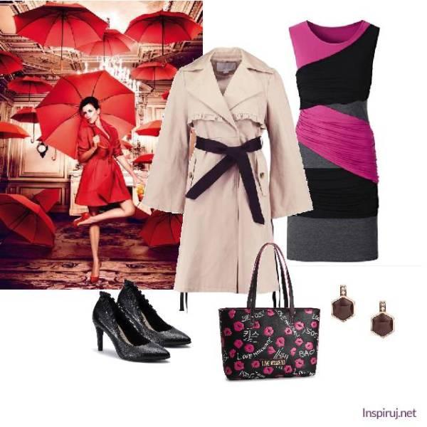 Stylizacja z prochowcem przewiązanym w talii i elegancką sukienka z różowymi akcentami
