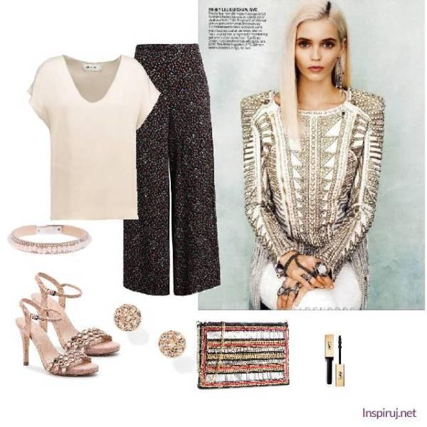 Stylizacja z eleganckimi rozkloszowanymi spodniami i perłowymi dodatkami