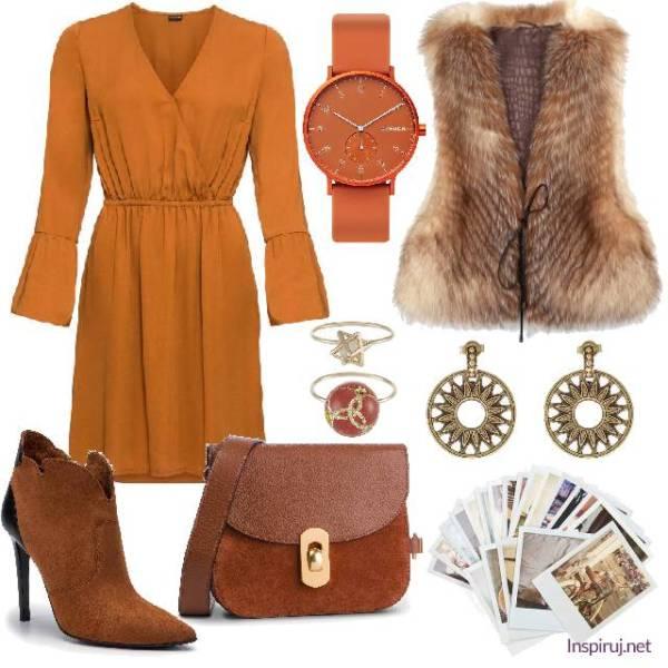 Stylizacja z pomarańczową sukienką, futrzaną kamizelką i brązowo-rudymi dodatkami