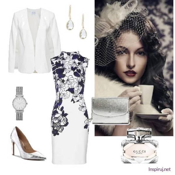 Biały total look z sukienką w kwiaty i srebrnymi dodatkami