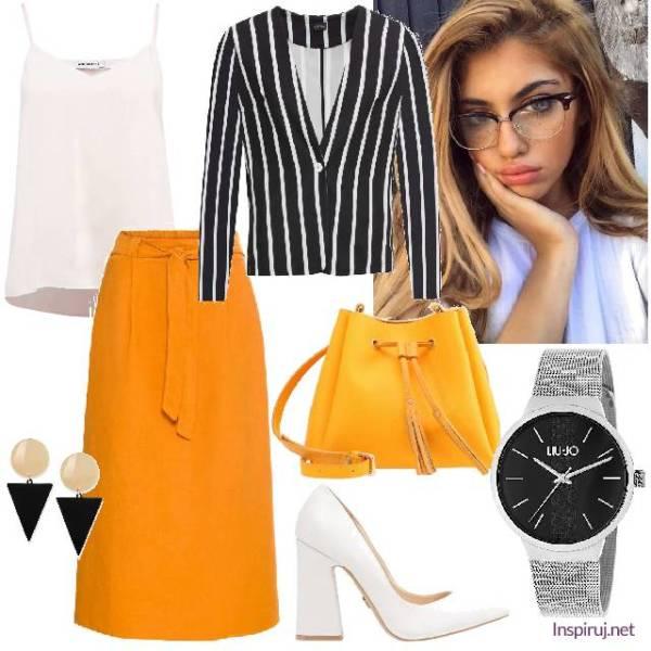 stylizacja z pomarańczową spódnicą i lakierowanymi butami w stylu lat 70.