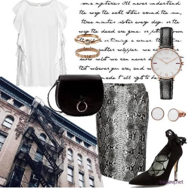 Elegancka stylizacja z wężową spódnicą i białą bluzką