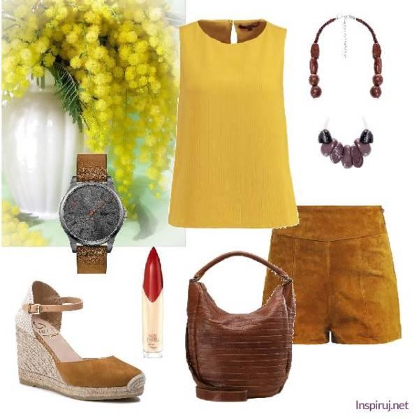 musztardowo-żółta stylizacja z etnicznym naszyjnikiem