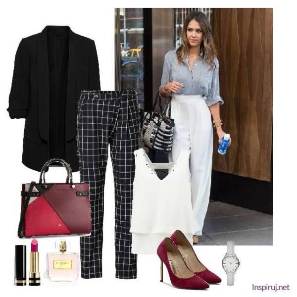 Stylizacja dress code ze spodniami w kratę i elegancką długą marynarką