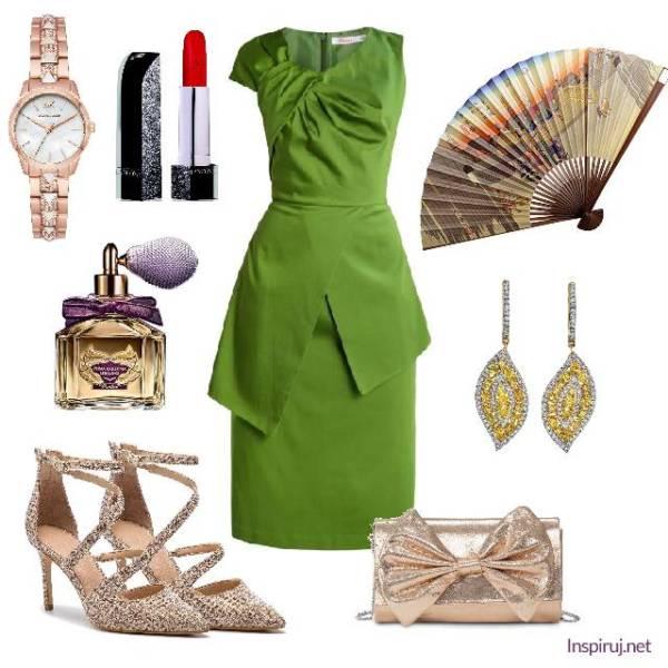 Stylizacja z elegancką asymetryczną oliwkową sukienką i wachlarzem