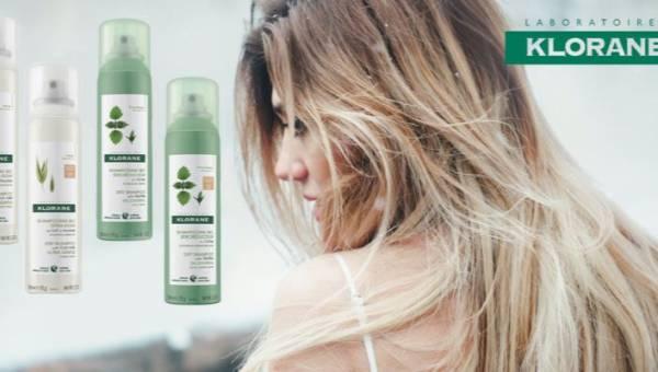 Nowość: Suche szampony Klorane z naturalnymi roślinnymi ekstraktami dla różnych odcieni włosów